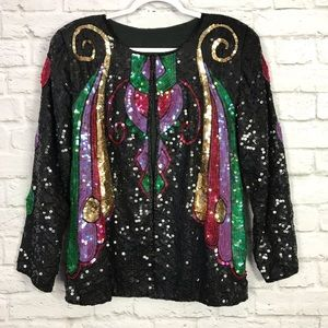 Vintage Butterfly Colorful Holiday Sequin Jacket